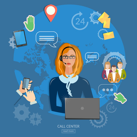 call center agent: Call center helpline operator with headphones woman technical support concept