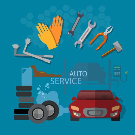 auto service: Auto repair auto service garage auto mechanic tools concept