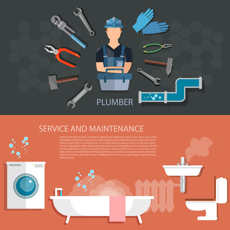 serviceman: Plumbing service washing machine repair cleaning and sewer pipes plumbing tool banners