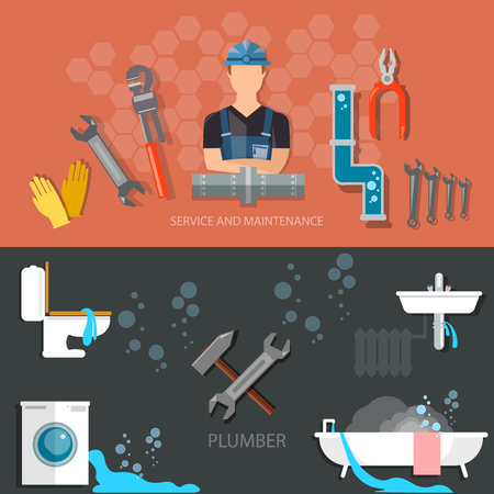 Plumbing repair service professional plumber different tools and accessories banners Vectores