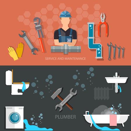 cañerías: Servicio de reparación de fontanería fontanero profesional diferentes herramientas y accesorios banners Vectores