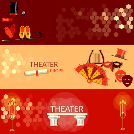 scenario: Theatre flat banners tragedy scenario actors performance theater tickets Illustration