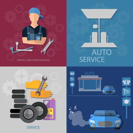 oil change: Auto service concept auto mechanic car repair oil change car diagnostics tire set Illustration
