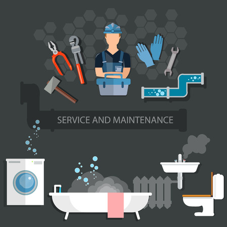 Professional plumber plumbing tools service and maintenance Stock Illustratie