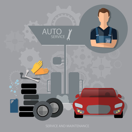 oil change: Auto service concept car diagnostics tire oil change professional mechanic car repair Illustration
