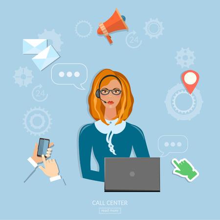 helpline: Call center technical support concept helpline operator with headphones woman