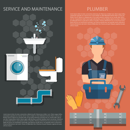 plumbing accessories: Plumbing repair service professional plumber different tools and accessories banners Illustration