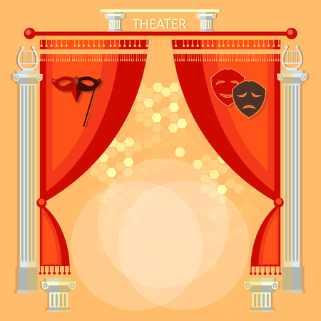 conjurer: Theater stage with red curtain columns and masks illustration