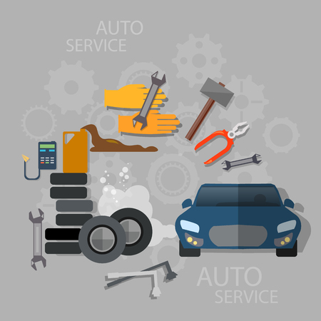 auto service: Auto service car repair oil change diagnostics tire service and maintenance Illustration