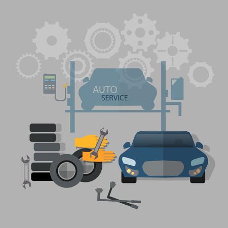 tire change: Auto service car repair tire service oil change gas station Illustration