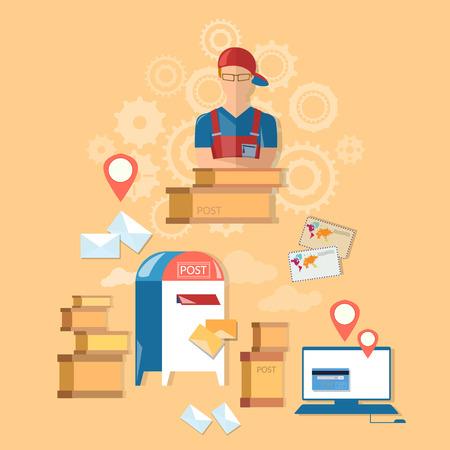 cartero: oficina de correos del servicio de entrega de correo del cartero