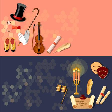 operetta: Theatre flat banner theater entertainment and performance elements musical operetta literature dramaturgy