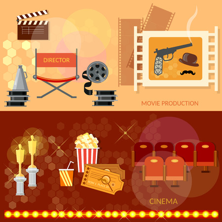 awards ceremony: Cinema festival movie theater entrance tickets clapper popcorn 3D glasses awards ceremony banners