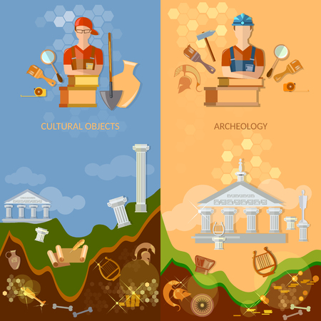 archeology: Archeology banners cultural objects treasure hunters archaeological excavations ancient artefacts tools for excavations