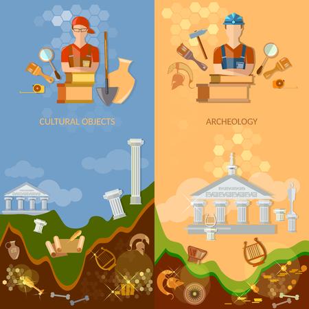 cazador: Banners Arqueología objetos culturales tesoro cazadores excavaciones arqueológicas artefactos antiguos herramientas para excavaciones Vectores