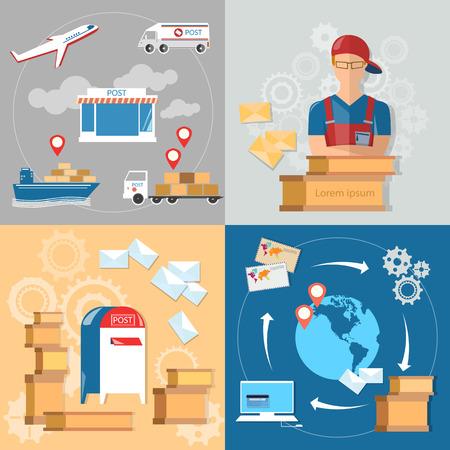 parcels: Postal delivery service post office postman letters and parcels postal service set