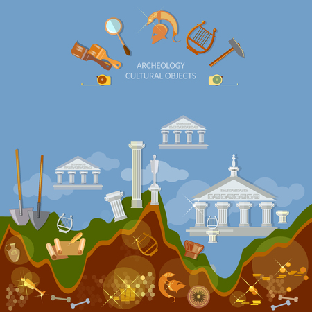 ancient civilization: Archeology dig ancient treasures civilization cultural objects search for lost artifacts tools for excavations Illustration