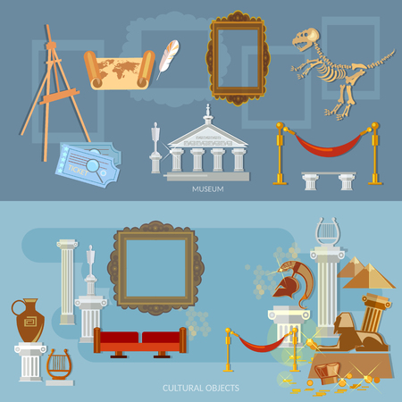 antiquity: Archeological museum of antiquity and natural science exposition ancient civilizations flat banners Illustration