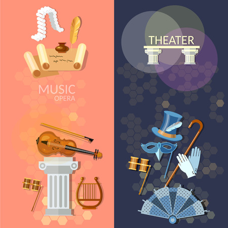 operetta: Theatre flat banner theater musical operetta literature dramaturgy entertainment and performance elements