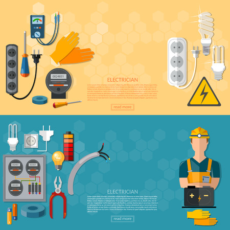 plug hat: Professional electrician with electricity tools flat horizontal banner Illustration