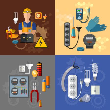 노란색 하드 모자 전기 가정 용품 벡터 세트 전문 전기 전기 에너지 전기 남자