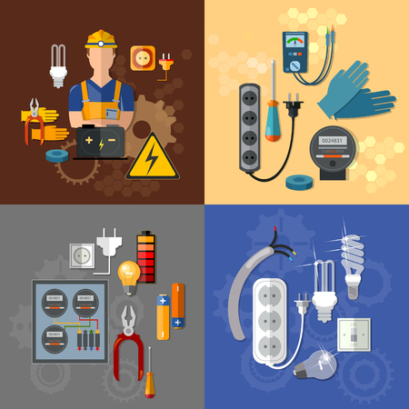electric outlet: Professional electrical electricity energy electric man in yellow hard hat electrical household supplies vector set