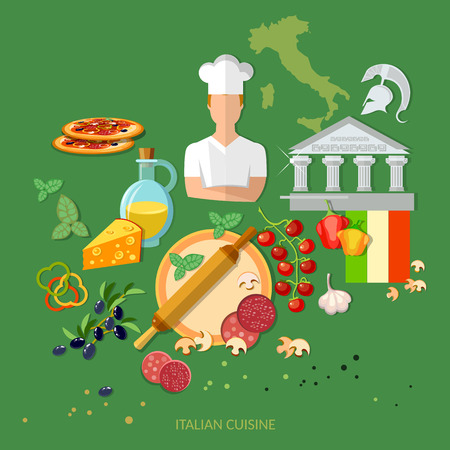 pizza ingredients: Pizzeria italian pizza ingredients cook tomatoes cheese dough rolling pin illustration