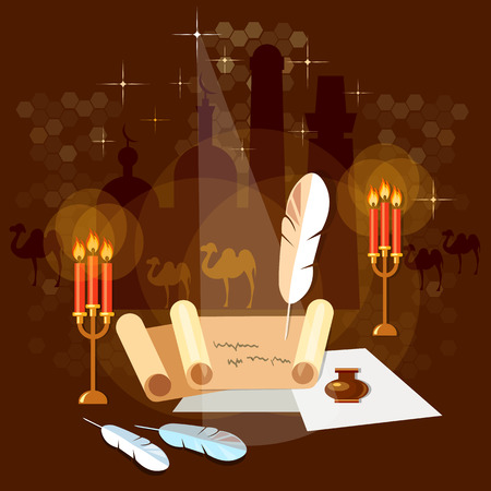 prose: Ancient scroll paper old book magic poster mystic bright light on background  Illustration
