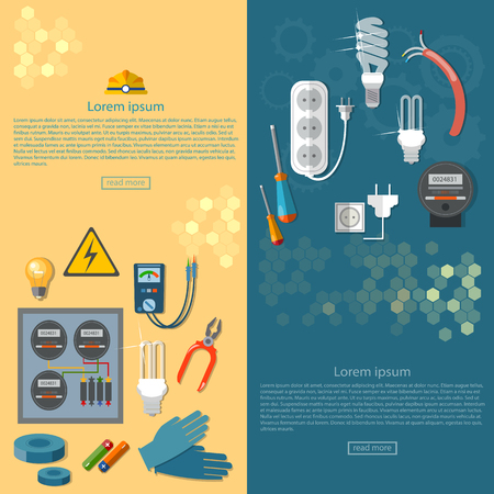 Electricity banners electrician tools installation of electric meter illustration Illustration
