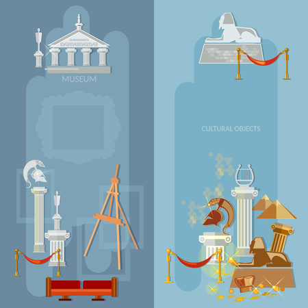 art gallery: Art gallery antique museum exhibition world culture ancient civilizations banners