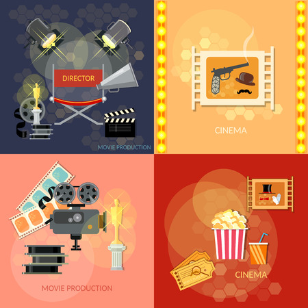 hollywood movie: Set of movie design elements cinema festival movie tickets clapper popcorn awards ceremony