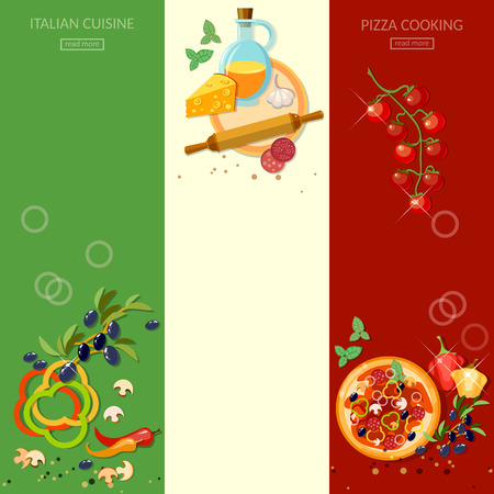 italian sausage: Pizzeria cooking pizza italian cuisine ingredients olives cheese tomatoes vertical banners Illustration