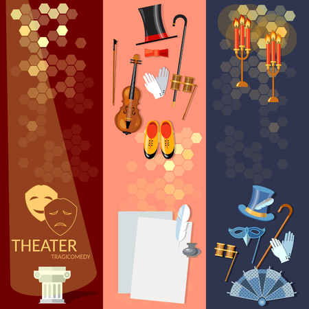 at the theater: Theatre flat banner set with actors scenario decorations dramaturgy performance vector illustration
