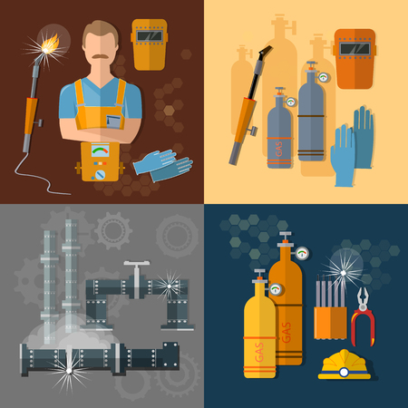 ironworks: Professional welder gas welding tools and equipment vector set Illustration