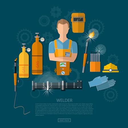 Professional welder welding tools and equipment vector illustration Stock Illustratie