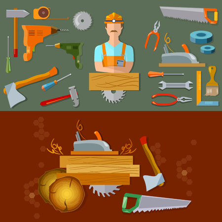 tools construction: Professional workspace carpenter tools flat vector illustration