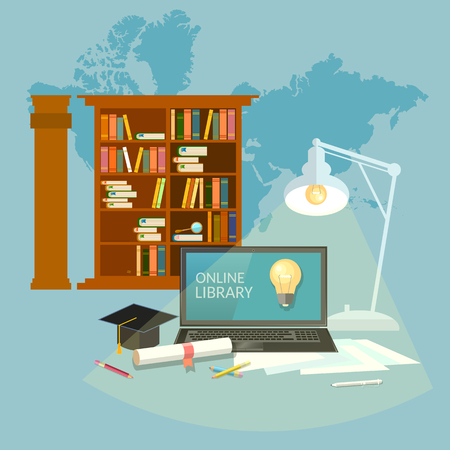 stake: Online library education concept vector illustration