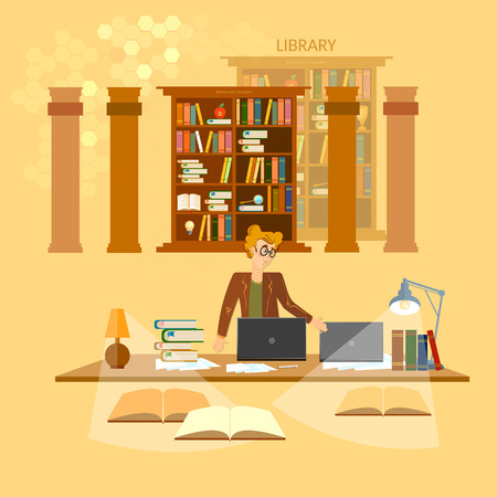 librarian: Online library education concept bookcases librarian vector illustration