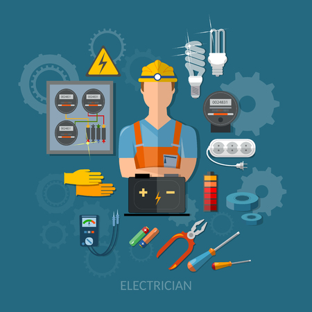 electrical equipment: Professional electrician with electricity tools flat vector illustration