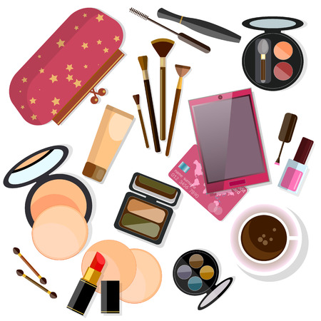 glamorous: Make-up products isolated on white vector illustration