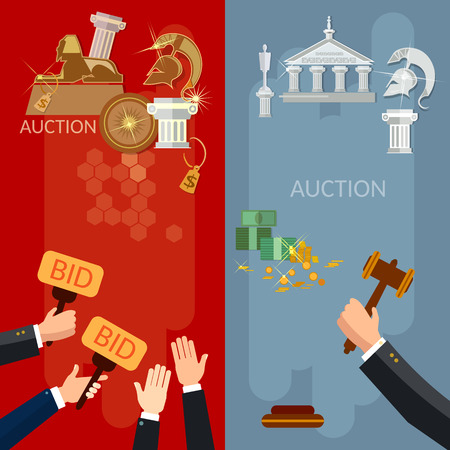 antiques: Auction vertical banners selling antiques and real estate vector illustration Illustration