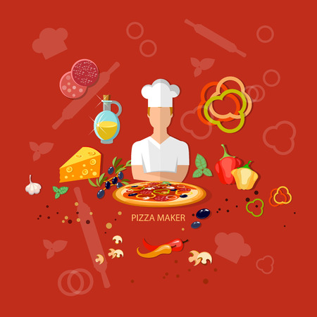 ingredients: Pizzeria pizza ingredients cook tomatoes cheese rolling pin vector illustration Illustration