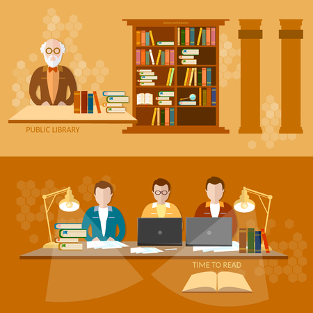 librarian: Public Library students reading books librarian in the reading room education banners Illustration
