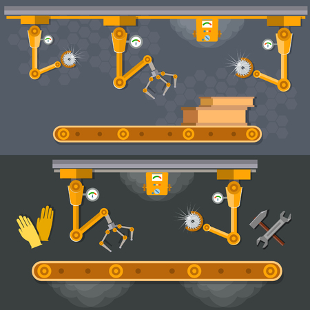 spoilage: Conveyor banners automation of labor manipulators and robotic arms vector illustration