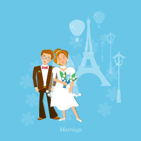 Wedding couple in love honeymoon to Paris vector