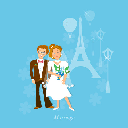 wedlock: Wedding couple in love honeymoon to Paris vector