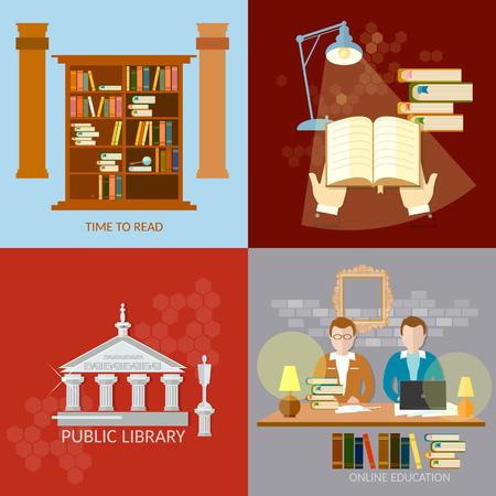 reading room: Public Library students reading room education  Illustration