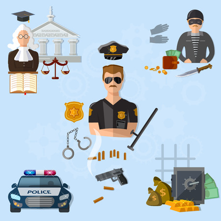 prisoner of the money: Law crime and punishment justice system police criminal judge illustration