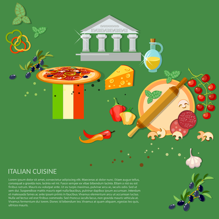 pizza ingredients: Pizzeria italian pizza ingredients rolling pin cook tomatoes cheese illustration Illustration