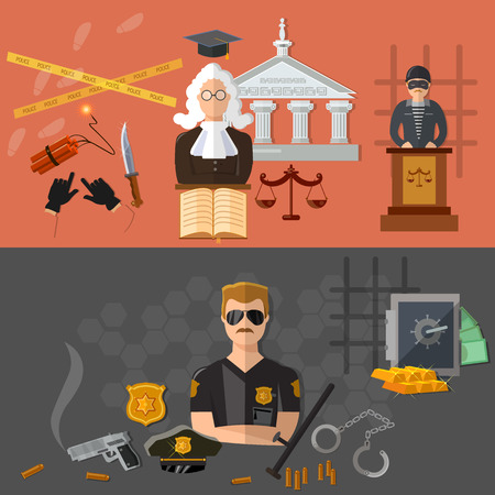 defendant: Crime and punishment defendant and judge in the courtroom illustration Illustration